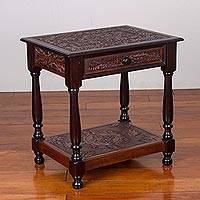 Wood and leather accent table, 'Colonial Wind' - Wood and Leather Accent Floral End Table from Peru