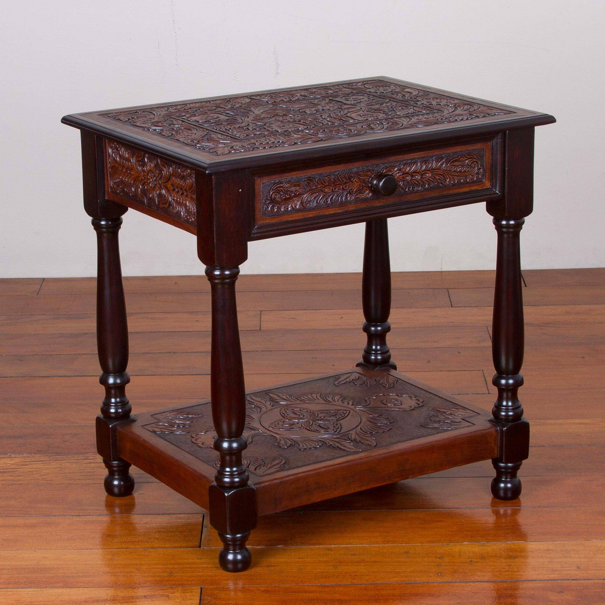 Wood And Leather Accent Floral End Table From Peru, U0027Colonial Windu0027