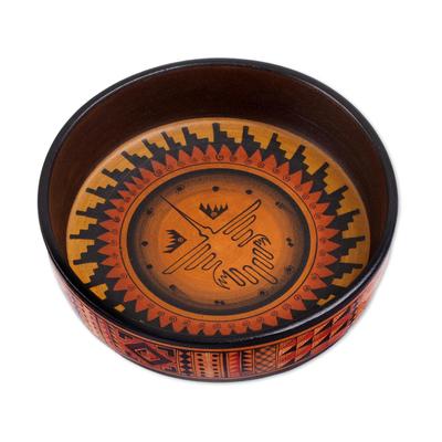 Ceramic decorative bowl, 'Celestial Hummingbird' - Ceramic Decorative Bowl with Nazca Bird from Peru