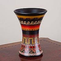 Ceramic decorative vase, 'Mystic Ceremony' - Hand-Painted Geometric Inca Ceramic Decorative Vase