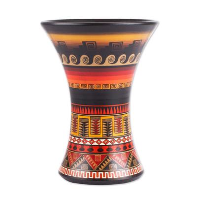 Hand Painted Geometric Inca Ceramic Decorative Vase Mystic
