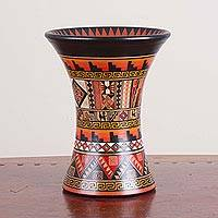 Ceramic decorative vase, 'Celestial Ceremony' - Handcrafted Ceramic Inca Decorative Vase from Peru