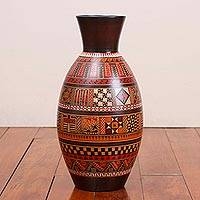 Ceramic decorative vase, 'Inca Passion' - Handcrafted Geometric Ceramic Decorative Vase from Peru