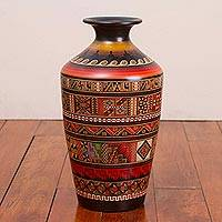 Ceramic decorative vase, 'Asking the Gods' - Handcrafted Ceramic Inca Decorative Vase from Peru