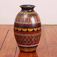 Ceramic decorative vase, 'Golden Inca' - Handcrafted Geometric Decorative Inca Vase from Peru