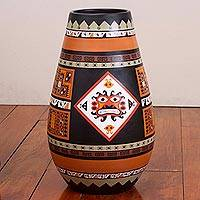 Ceramic decorative vase, 'Warrior Offering' - Hand-Painted Inca Ceramic Vase with a Face from Peru