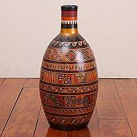 Ceramic decorative vase, 'Inca Mixture' - Handcrafted Ceramic Inca Decorative Vase from Peru