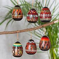 Ceramic ornaments, 'Inca Eggs' (set of 6) - Six Ceramic Egg-Shaped Geometric Ornaments from Peru