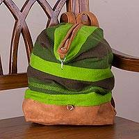 Suede accent alpaca blend backpack, 'Moche Valley' - Hand Woven Green Alpaca Blend and Suede Backpack from Peru