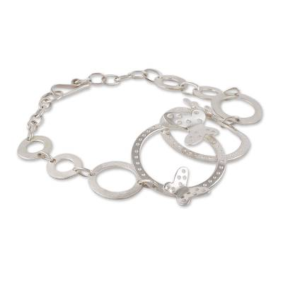 Sterling Silver Butterfly Link Bracelet Hand Crafted in Peru