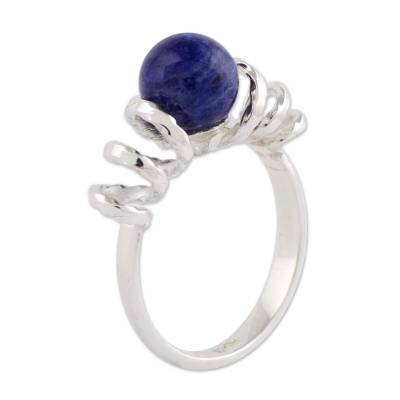 Sodalite cocktail ring, 'Andean Whirligig' - Artisan Crafted Contemporary Sodalite and Sterling Ring