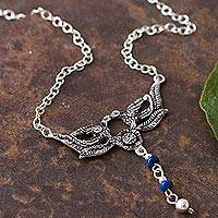 Lapis lazuli pendant necklace, 'Floral Nectar' - Lapis Lazuli and Sterling Silver Floral Necklace from Peru
