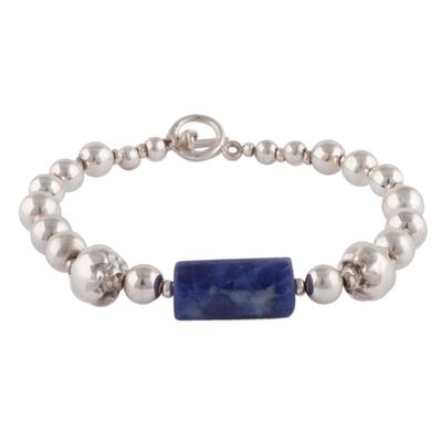 Sodalite pendant bracelet, 'Capture the Ocean' - Sterling Silver and Sodalite Pendant Bracelet from Peru