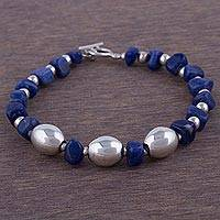 Sodalite beaded bracelet, 'Blue Pebbles' - Sodalite and Sterling Silver Beaded Bracelet from Bali