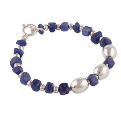Sodalite and Sterling Silver Beaded Bracelet from Bali