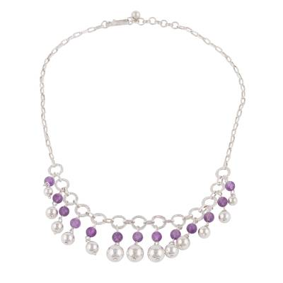 Amethyst and Sterling Silver Waterfall Necklace from Peru