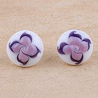 Murano art glass button earrings,
