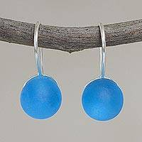 Murano art glass drop earrings, 'Blue Spheres' - Sterling Silver and Murano Glass Drop Earrings from Peru