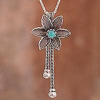 Amazonite pendant necklace, 'Floral Desire' - Amazonite and Sterling Silver Floral Pendant Necklace