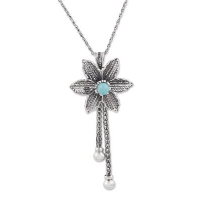 Amazonite and Sterling Silver Floral Pendant Necklace