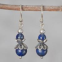 Lapis lazuli filigree dangle earrings, 'Budding Blue' - Lapis Lazuli and Sterling Silver Dangle Earrings from Peru