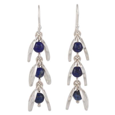 Lapis lazuli filigree dangle earrings, 'Glowing Eden' - Lapis Lazuli Filigree Dangle Earrings from Peru