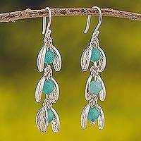 Amazonite filigree dangle earrings, 'Glowing Eden' - Amazonite Filigree Dangle Earrings from Peru