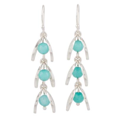 Amazonite Filigree Dangle Earrings from Peru