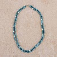 Sterling silver beaded necklace, 'Sky-Blue Beauty' - Sterling Silver and Reconstituted Turquoise Necklace