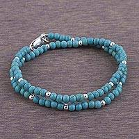 Sterling silver wrap bracelet, 'Sky-Blue Beauty' - Sterling Silver and Reconstituted Turquoise Bracelet