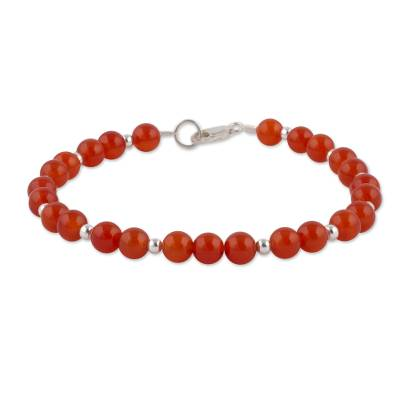 Carnelian and Sterling Silver Beaded Bracelet from Peru