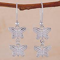 Silver dangle earrings, 'Free Butterflies' - 950 Silver Butterfly Dangle Earrings from Peru