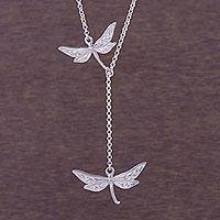 Silver Y-necklace, 'Chasing Dragonflies' - 950 Silver Dragonfly Y-Necklace from Peru