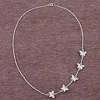 Silver station necklace, 'Free Butterflies' - 950 Silver Butterfly Station Necklace from Peru