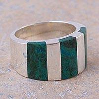 Chrysocolla band ring, 'Courageous Color' - Modern Handcrafted Andean Silver Chrysocolla Ring