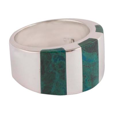 Modern Handcrafted Andean Silver Chrysocolla Ring