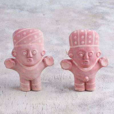 Papier mache figurines, 'Traditional Cuchimilcos' (pair) - Pair of Papier Mache Cuchimilco Figrurines from Peru