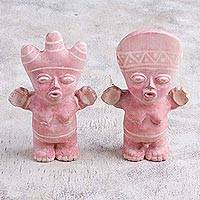 Papier mache figurines, 'Cuchimilco Bond' (pair) - Pair of Papier Mache Cuchimilco Figrurines from Peru
