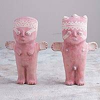Papier mache figurines, 'Charming Cuchimilcos' (pair) - Pair of Papier Mache Cuchimilco Figrurines from Peru