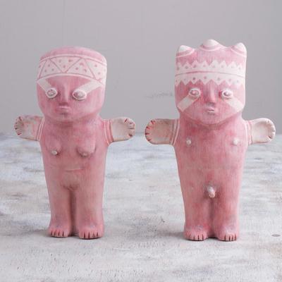 Pair of Papier Mache Cuchimilco Figrurines from Peru, 'Charming Cuchimilcos'