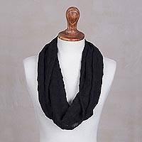 100% alpaca infinity scarf, 'Royal Black' - Hand Crocheted Alpaca Infinity Scarf in Black from Peru
