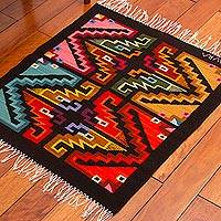 Wool blend area rug, 'Geometric Puzzles' (3x3) - Handwoven 3x3 Geometric Wool Blend Area Rug from Peru