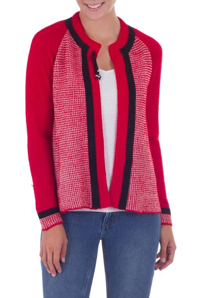 100% alpaca and leather accent cardigan sweater, 'Bold Heart' - Red 100% Alpaca Cardigan Sweater with Leather Accents