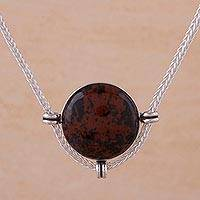 Mahogany obsidian pendant necklace, 'Essence of Time' - Andean Sterling Silver Necklace with Mahogany Obsidian