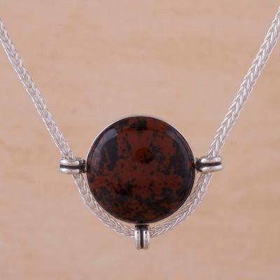 Novica Mahogany obsidian pendant necklace, Essence of Time