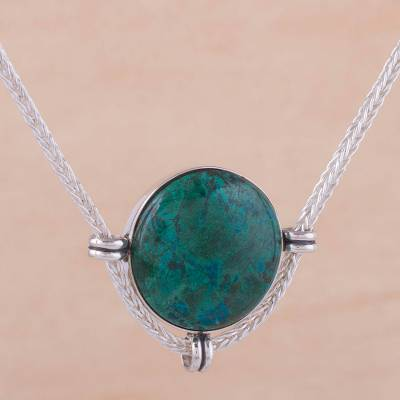Chrysocolla pendant necklace, 'Essence of Time' - Andean Chrysocolla and Sterling Silver Pendant Necklace