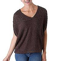 100% alpaca sweater, 'Vintage Brown' - Brown 100% Alpaca Short Sleeved Sweater from Peru