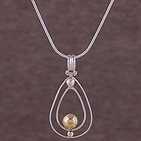 Gold accent sterling silver pendant necklace, 'Forever Balanced' - 18k Gold Accent Sterling Silver Pendant Necklace from Peru