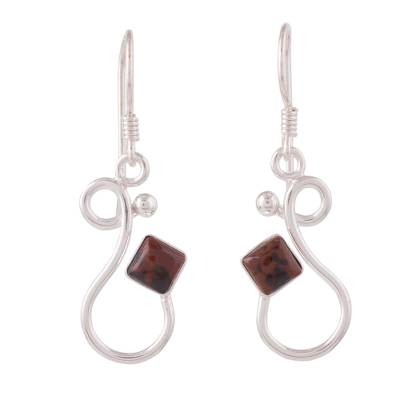 Modern Artisan Crafted Silver and Mahogany Obsidian Earrings