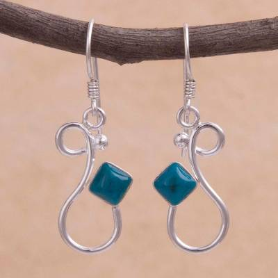 Chrysocolla dangle earrings, 'Sinuous Song' - Handcrafted Silver and Chrysocolla Modern Dangle Earrings